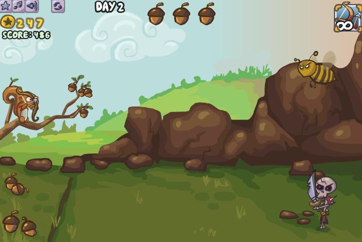 Белка защищает орехи
