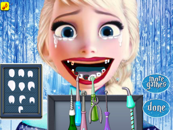 Эльза лечит зубы