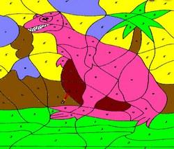 Одинокий динозавр. Раскраска
